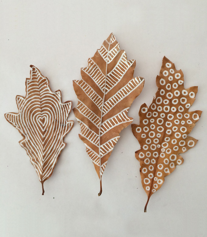 680x778 Leaf Drawing With Chalk Markers