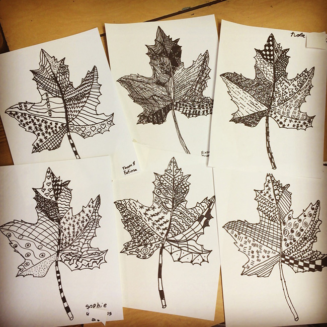 650x650 Zentangle Leaves