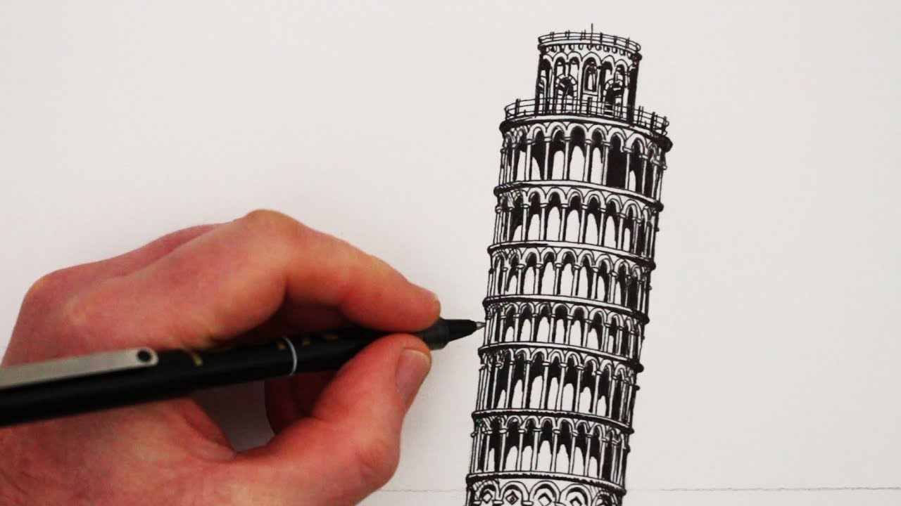 1280x720 How To Draw Famous Buildings The Leaning Tower Of Pisa
