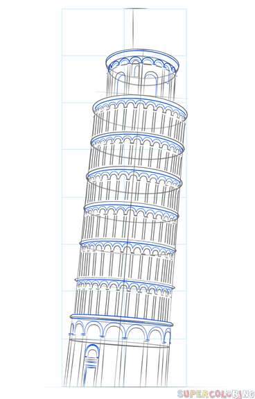 368x575 How To Draw The Leaning Tower Of Pisa Step By Step Drawing Tutorials