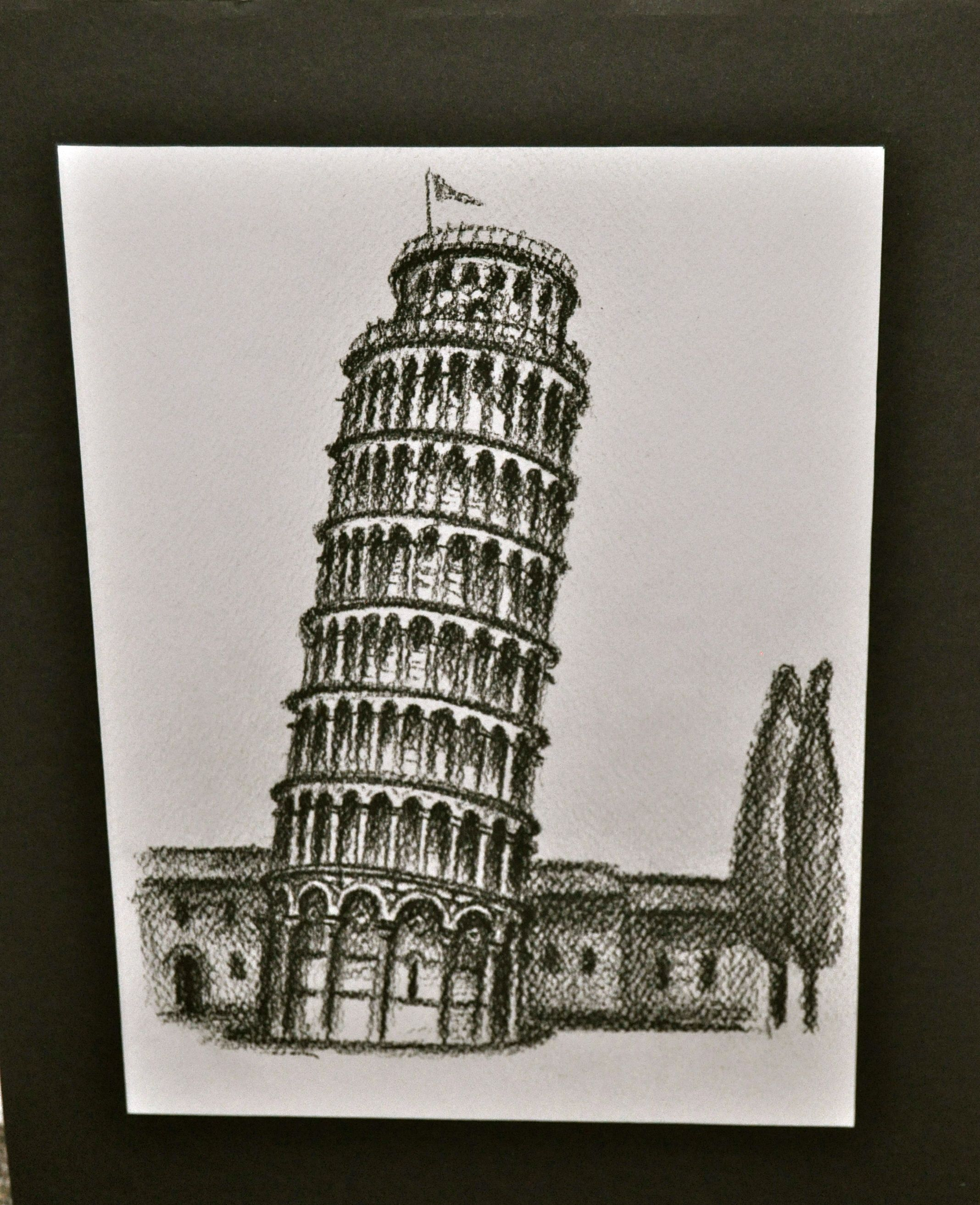 2136x2626 Leaning Tower Of Pisa Charcoal Drawing Italy 2013 My Art