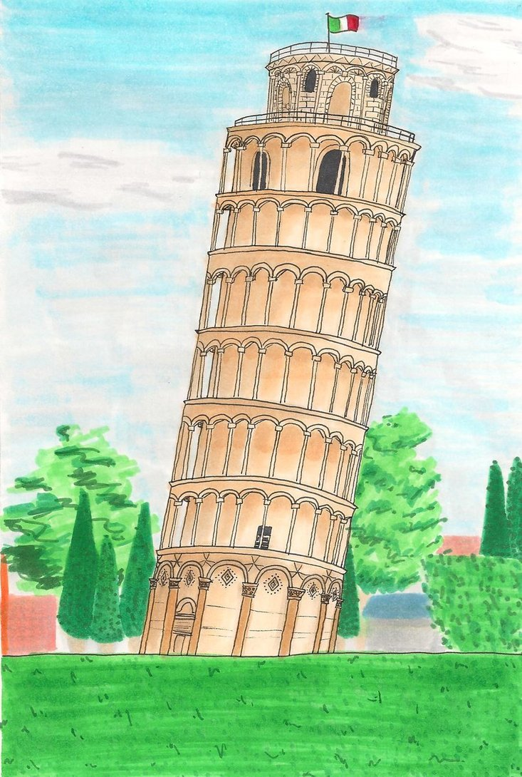 733x1090 Leaning Tower Of Pisa By Zero Kiryu Kun