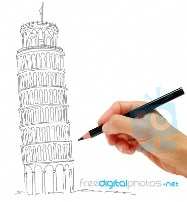 370x400 Sketch Of Leaning Tower Of Pisa Stock Image
