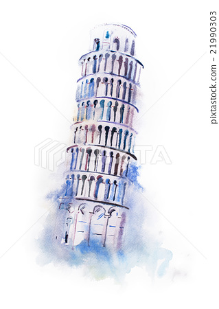319x450 Watercolor Drawing Leaning Tower Of Pisa