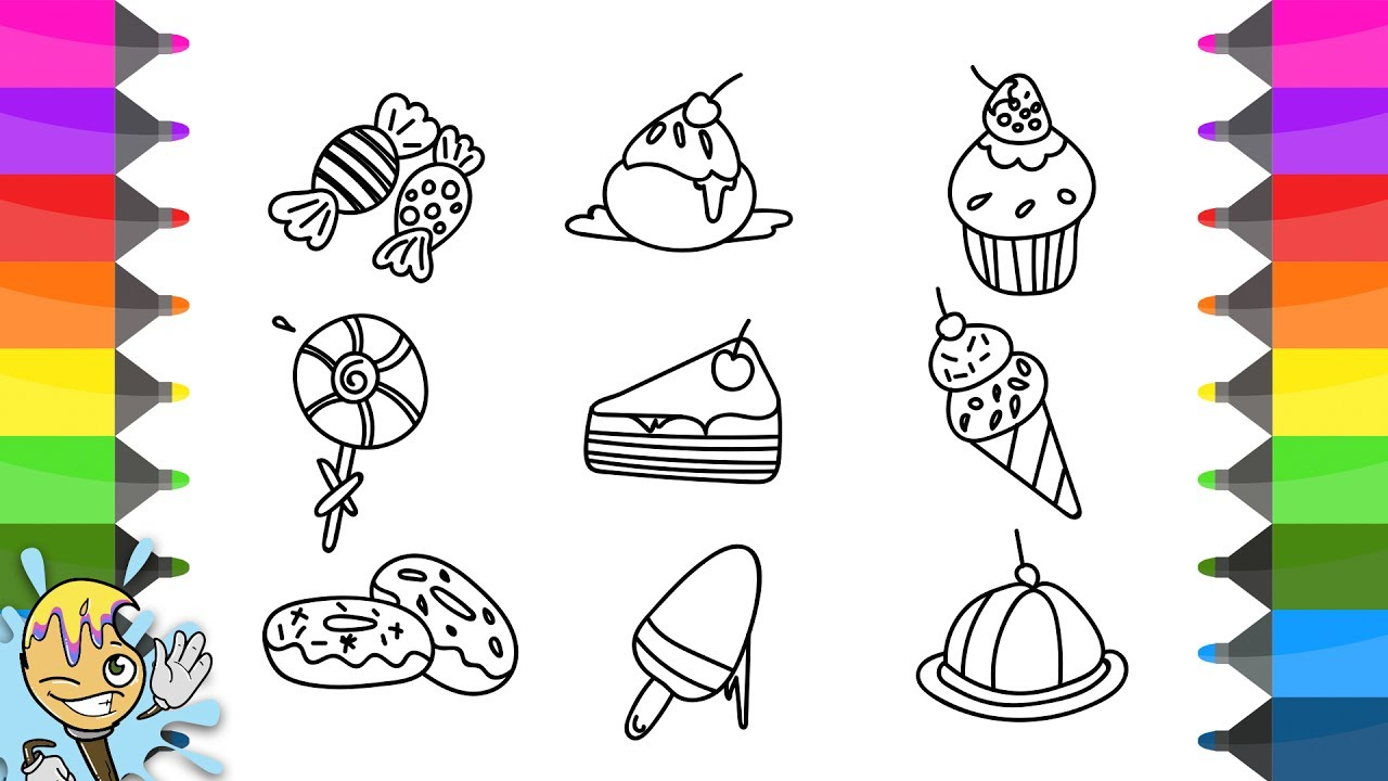1280x720 How To Draw Sweets And Candies. Coloring Pages. Learning Drawing