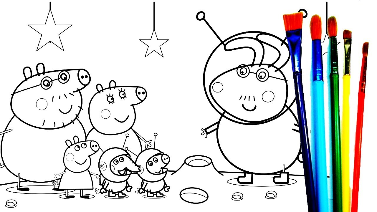 1280x720 Peppa Pig Daddy Pig Family On The Moon
