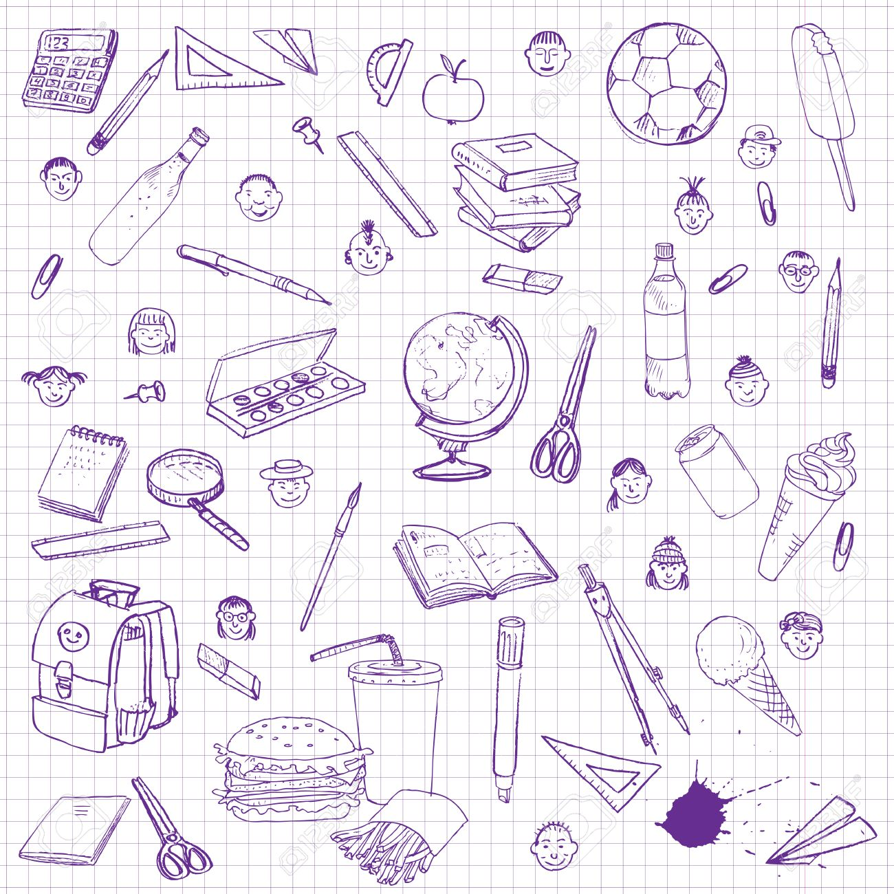 1300x1300 Set Of School Objects, Doodle Tools For Learning, Drawing By