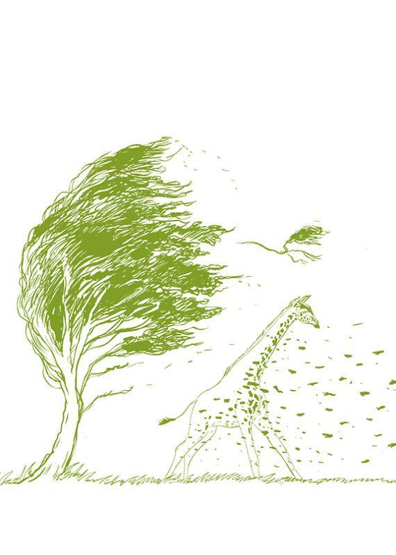 570x798 Wild Wild Wind Giraffe Wind Blow Tree By Yeohghstudio On Etsy