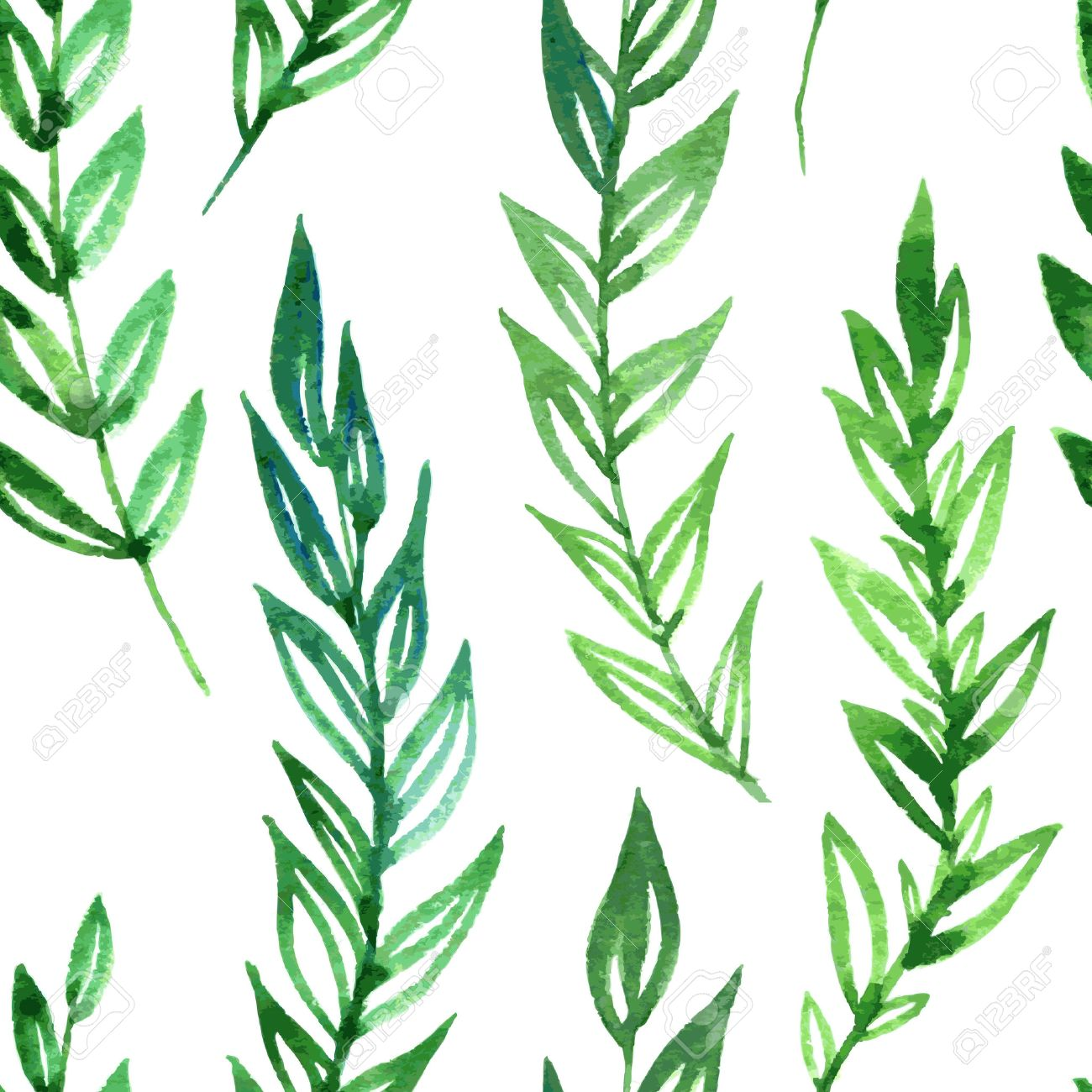 1300x1300 Vector Seamless Pattern With Fern Leaves Drawing By Watercolor