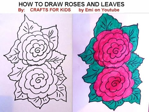 480x360 How To Draw, Roses And Leaves, Easy Flowers, Free Drawing Lessons