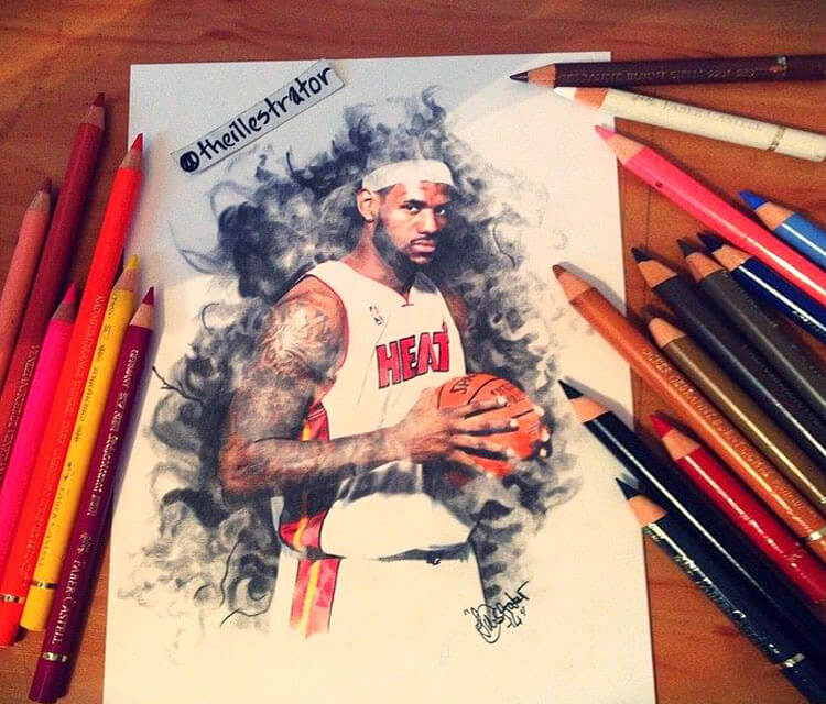 750x640 Lebron James Color Drawing By The Illestrator No. 1715