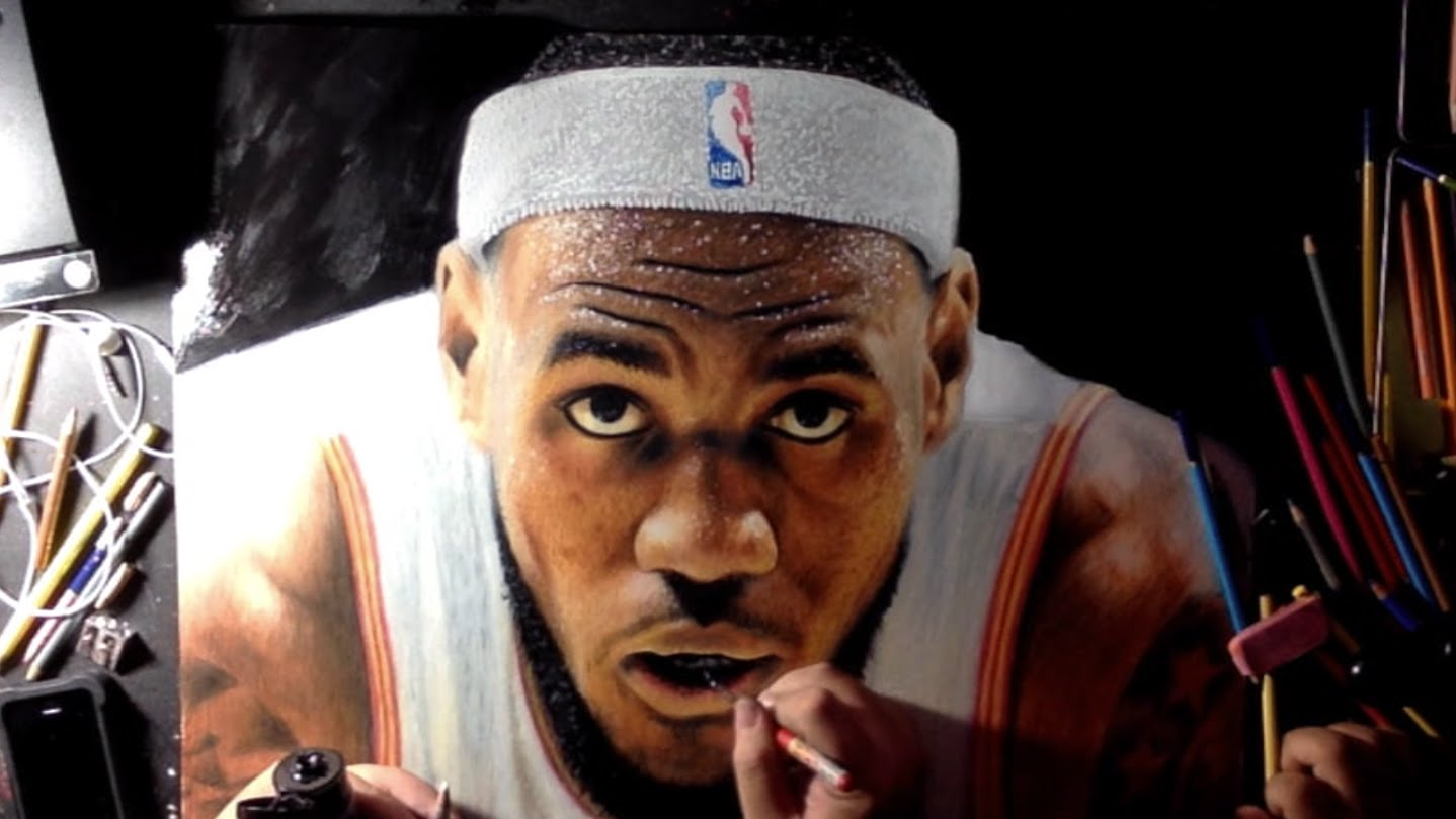 1438x809 Realistic Drawing Of Lebron James