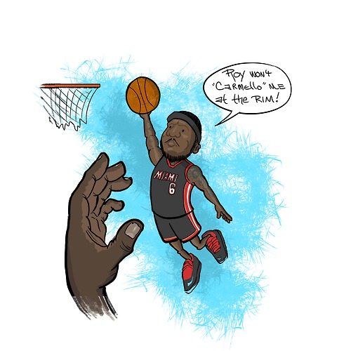 500x500 Art Of The Day Lebron Dunking On Hibbert Won'T Carmelo