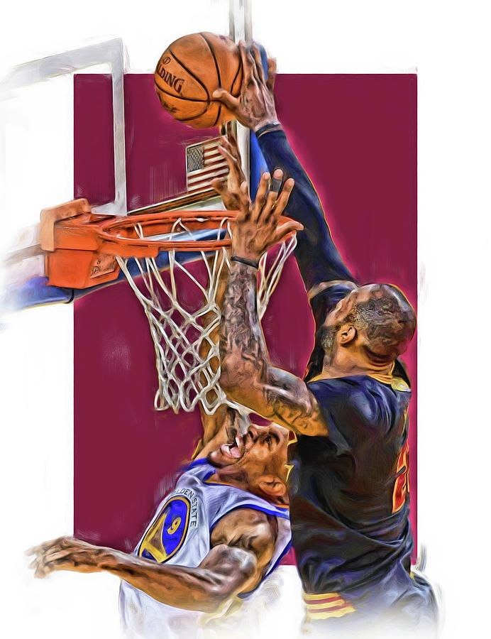 692x900 Lebron James Cleveland Cavaliers Oil Art Mixed Media By Joe Hamilton