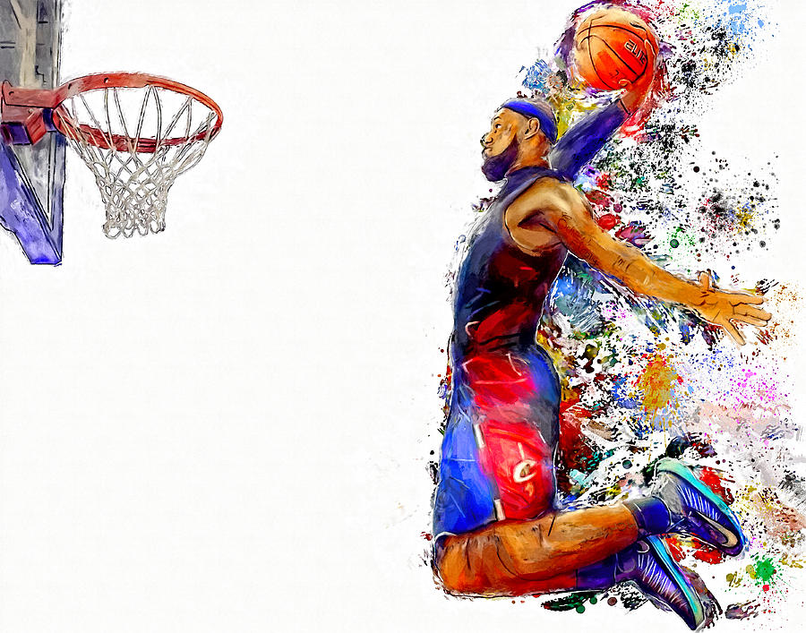 900x707 Lebron James Dunk In Color Painting Painting By Andres Ramos