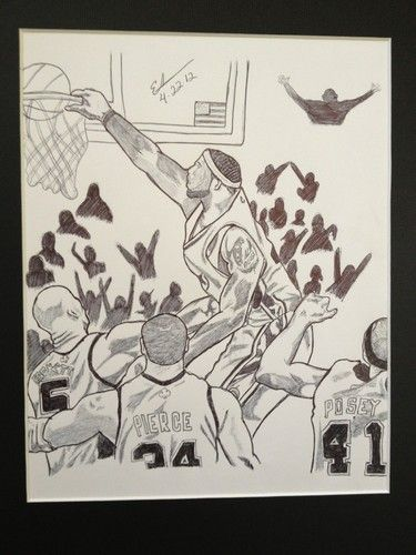 375x500 New Lebron James Miami Heat Nba Game Play Dunk Drawing Sports Art