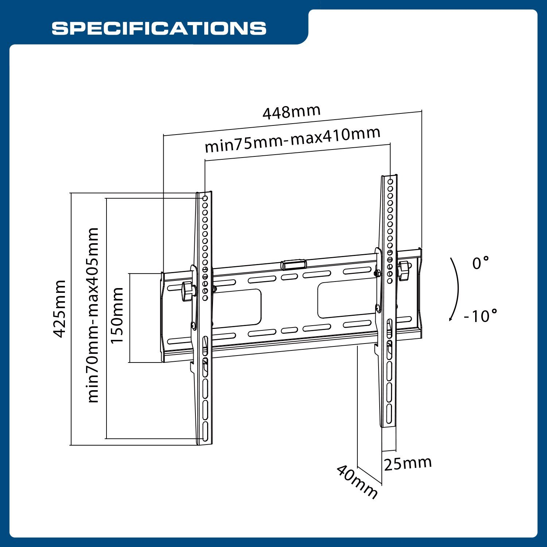 1500x1500 Qualgear Qg Tm T 015 Universal Low Profile Tilting Tv Wall Mount
