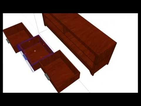 480x360 Sketchup Simple Wood Led Tv Table With Drawers (Speed Drawing