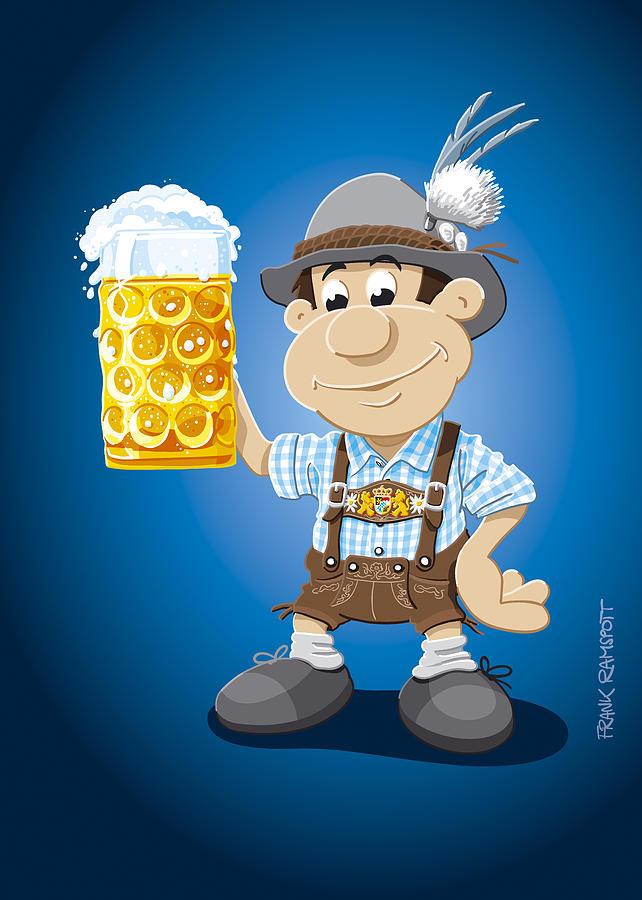 642x900 Beer Stein Lederhosen Oktoberfest Cartoon Man Digital Art By Frank