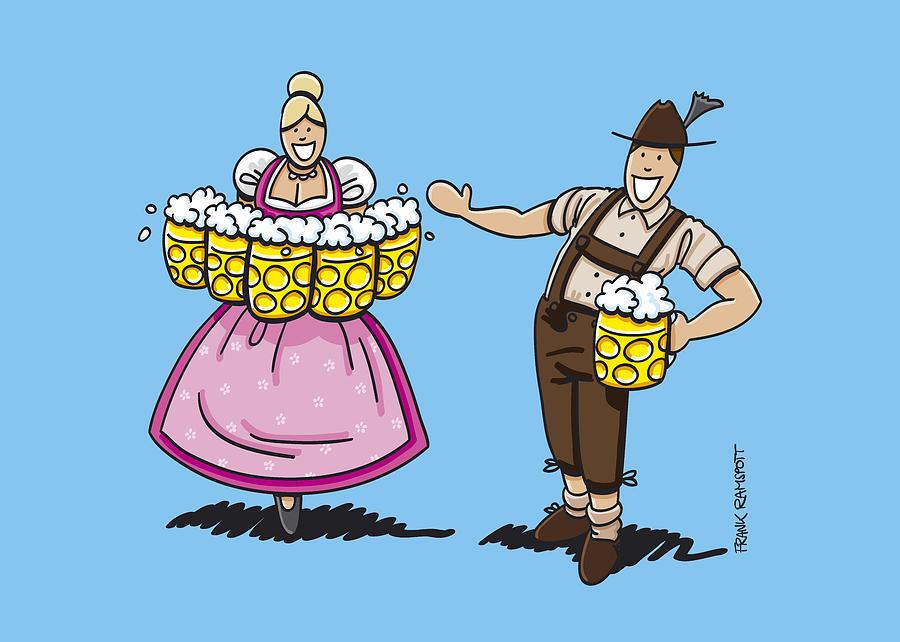 900x642 Lederhosen Man Welcomes Oktoberfest Beer Waitress Drawing By Frank