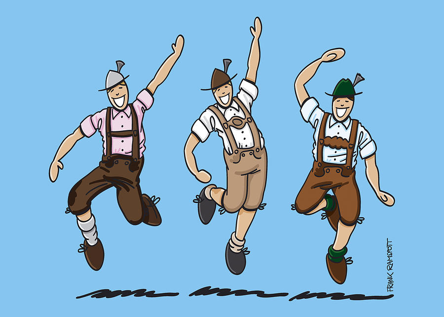 900x642 Three Dancing Oktoberfest Lederhosen Men Drawing By Frank Ramspott