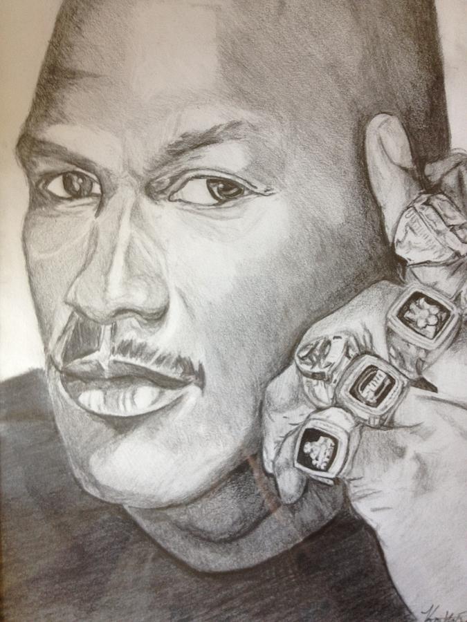 675x900 Michael Jordan Six Rings Legacy Drawing By Keith Evans