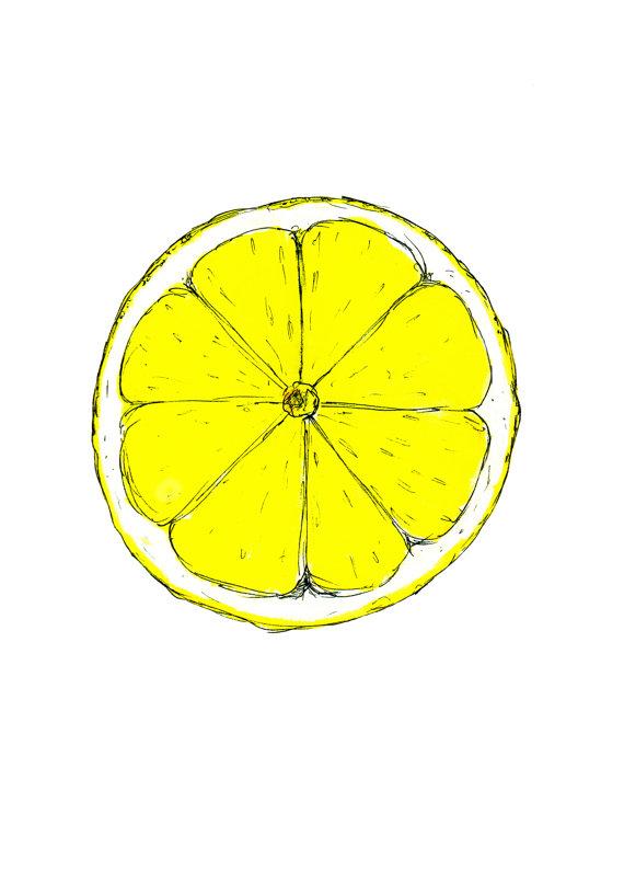 570x806 Lemon Slice Print Citrus Print Watercolour By Bernieandroseart