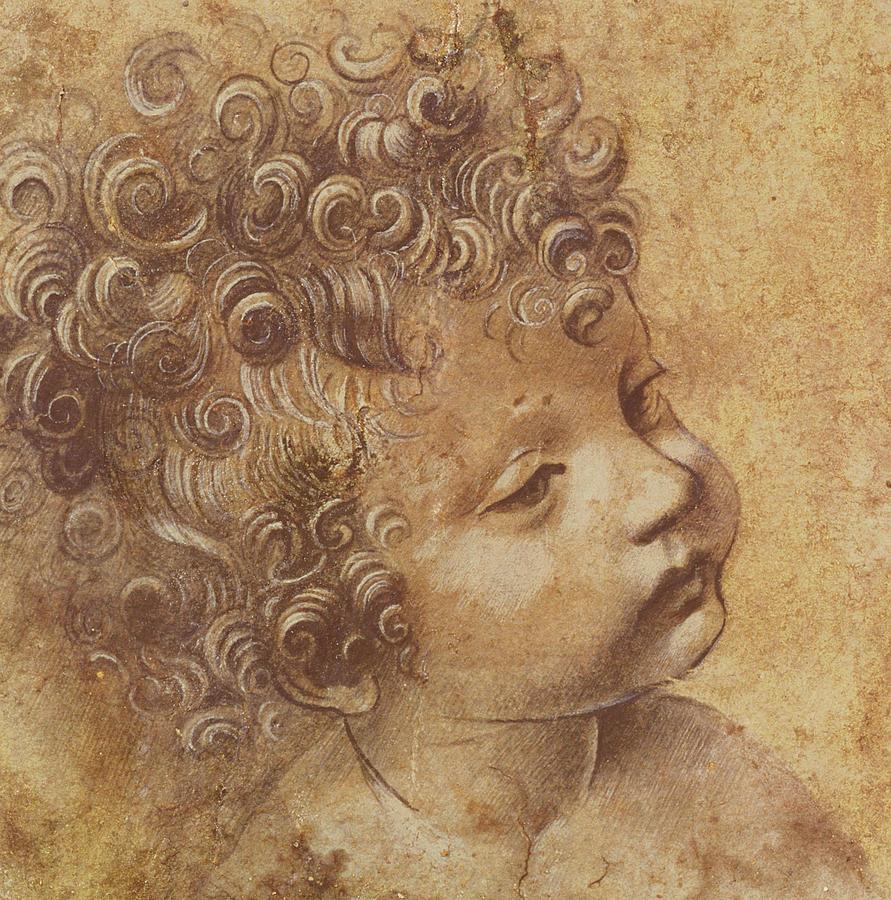 891x900 Study Of A Child's Head Drawing By Leonardo Da Vinci