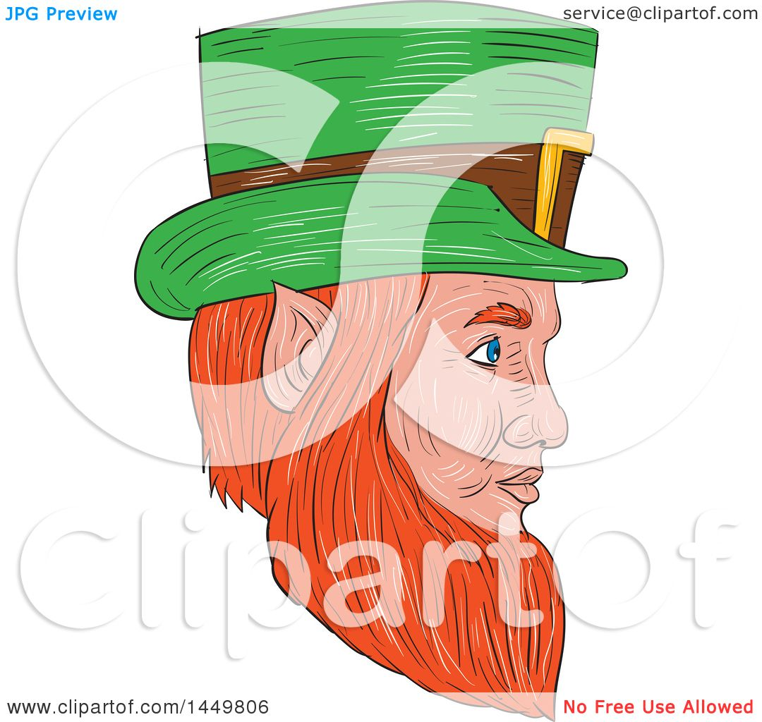 1080x1024 Clipart Graphic Of A Sketched Drawing Styled Leprechaun Face