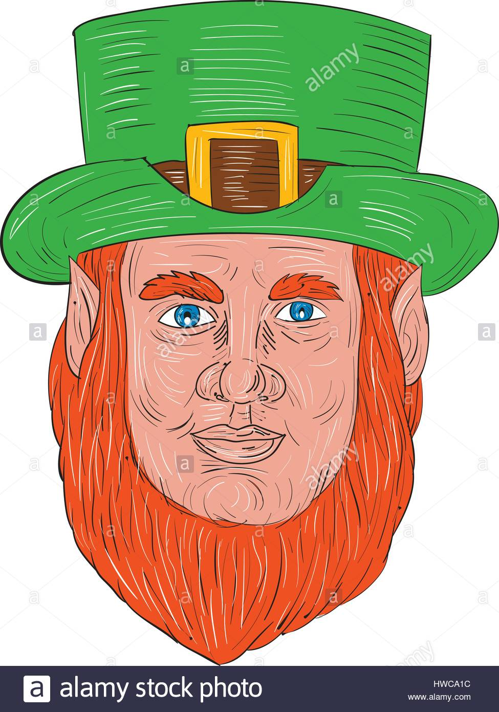 975x1390 Drawing Sketch Style Illustration Of A Leprechaun Head Viewed