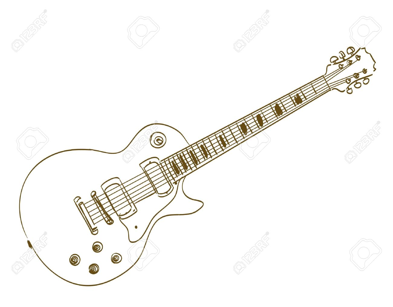 1300x1014 Hand Drawn Electric Guitar On White Les Paul Royalty Free Cliparts