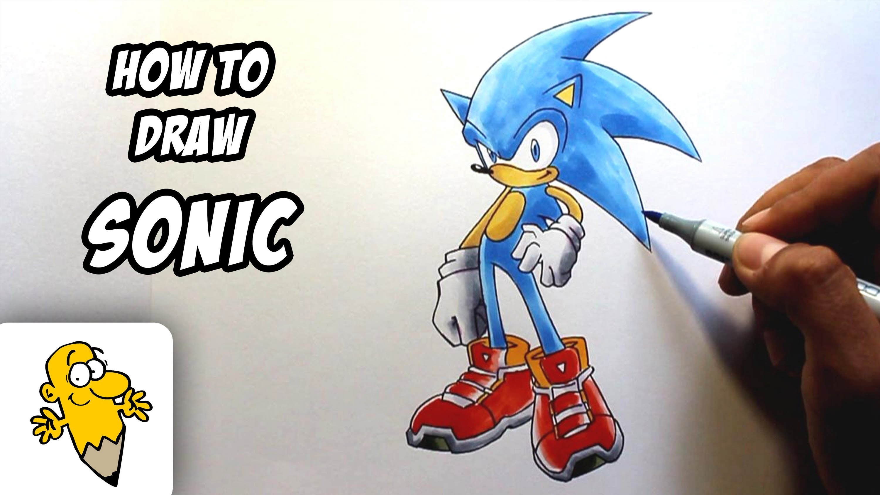 3000x1688 How To Draw Sonic The Hedgehog Drawing Tutorial