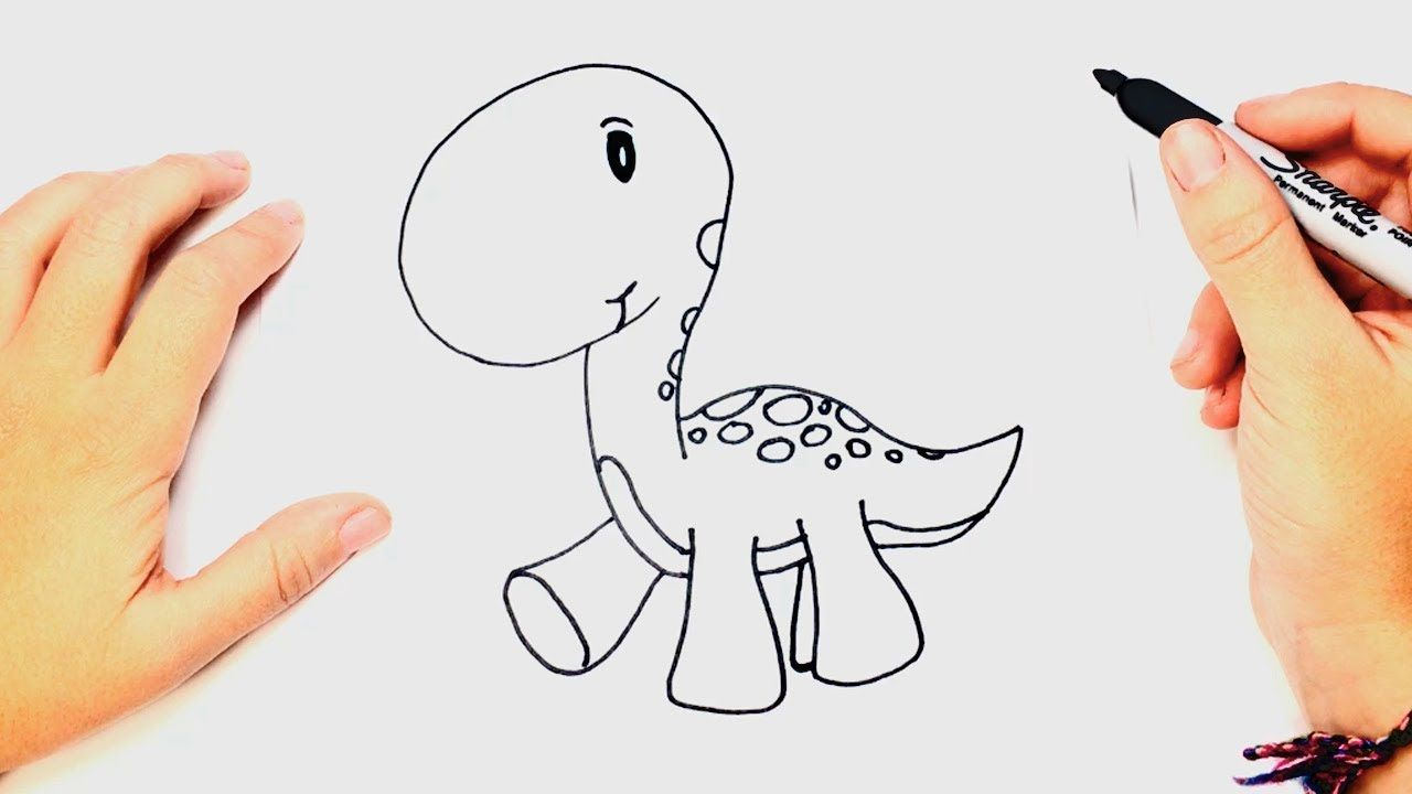 1280x720 How To Draw A Baby Dinosaur Dinosaur Drawing Lesson