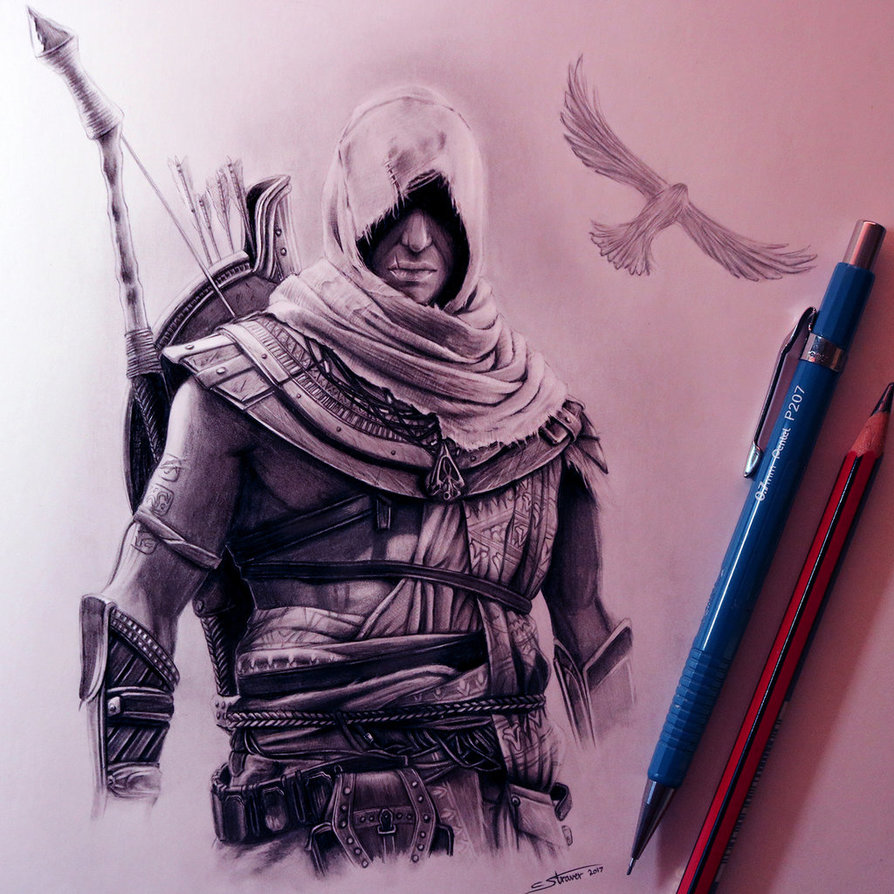 894x894 Assassin's Creed Origins Drawing By Lethalchris