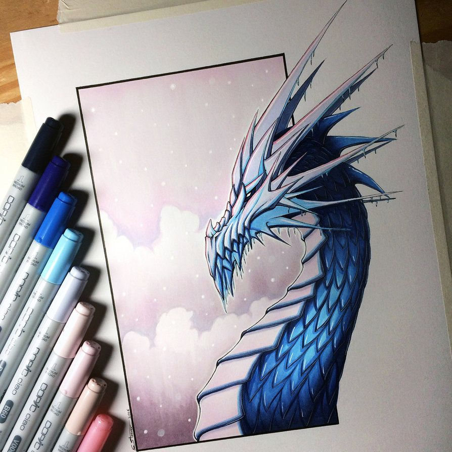 894x894 Ice Dragon Drawing By Lethalchris On Artist's Process