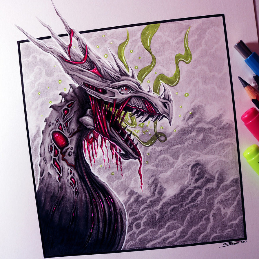 894x894 Zombie Dragon Drawing By Lethalchris