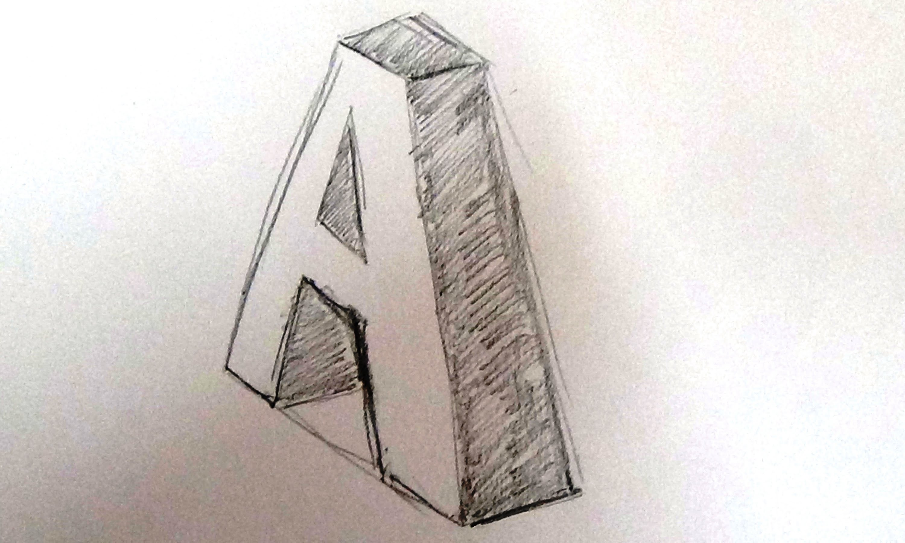 3000x1801 How To Draw A 3d Letter Drawing 3d Letter (A)