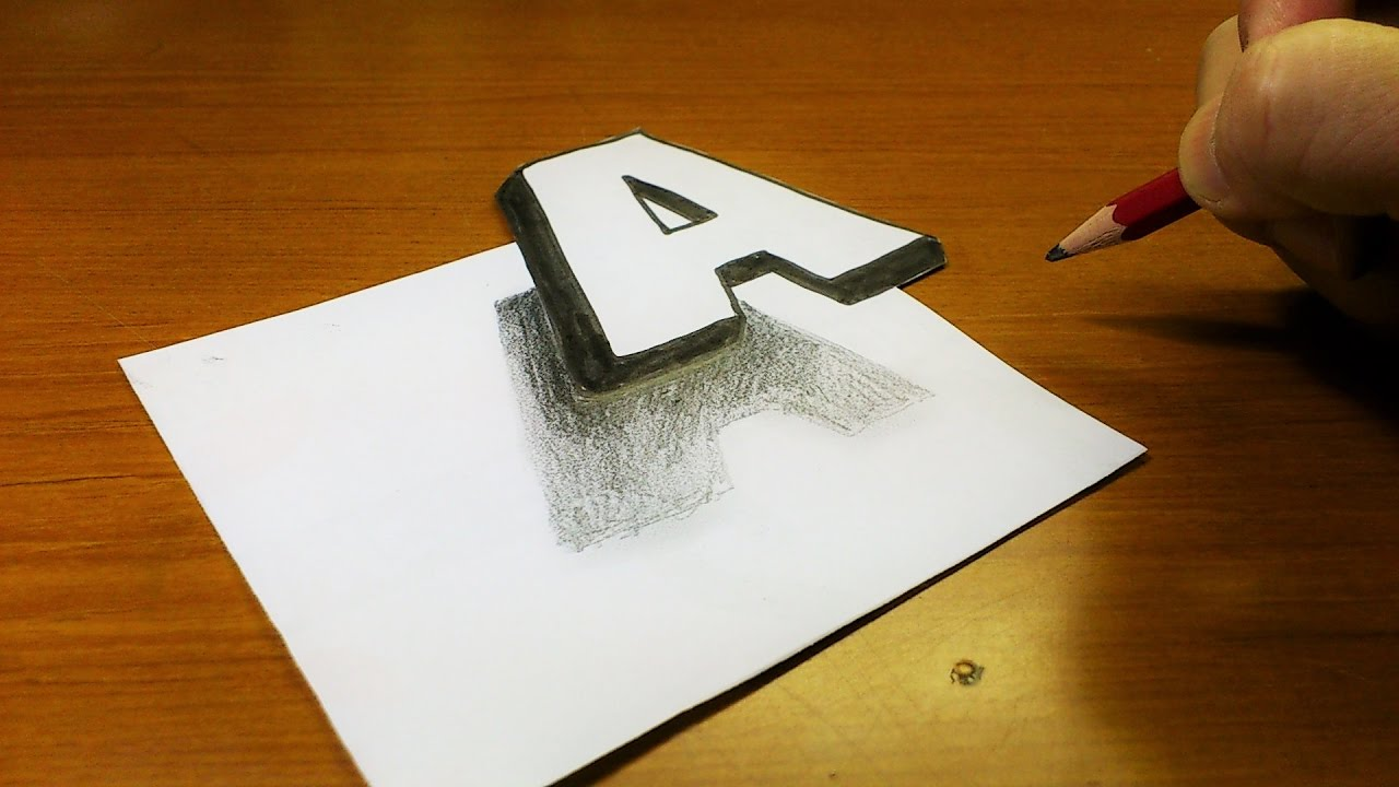 1280x720 Very Easy!! How To Drawing 3d Floating Letter