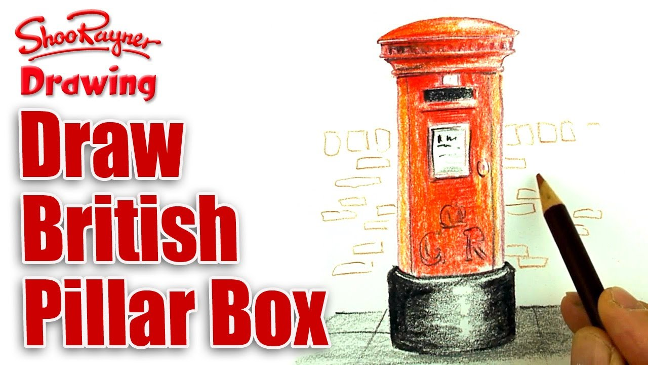 1280x720 How To Draw A British Post Box With Coloured Pencils