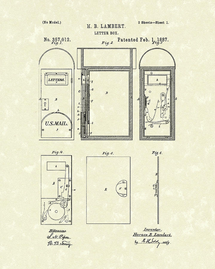 720x900 Letter Box 1887 Patent Art Drawing By Prior Art Design