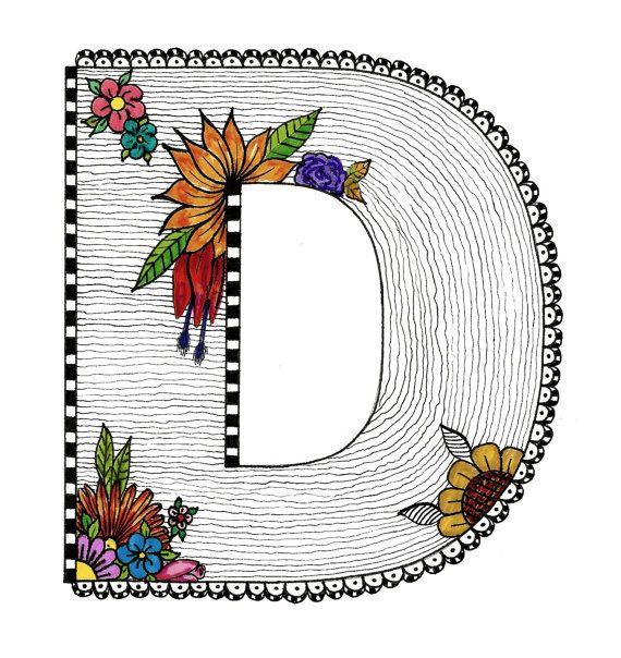 570x604 Letter D Doodle Alphabet, 8.5x11 Original Markers Drawing Via