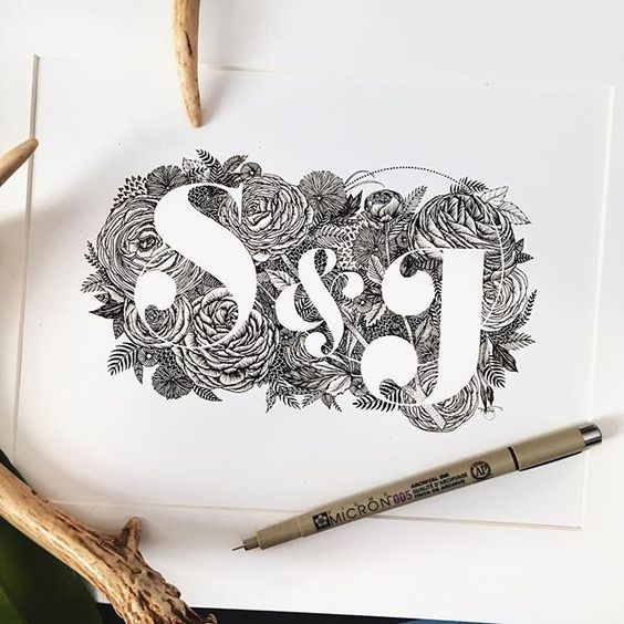 564x564 Custom Letter Pair Drawing