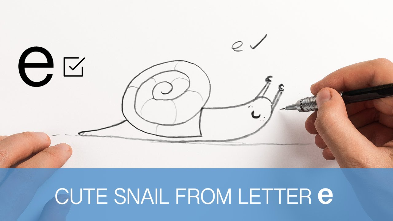 1280x720 Cute Snail Sketch From Letter E