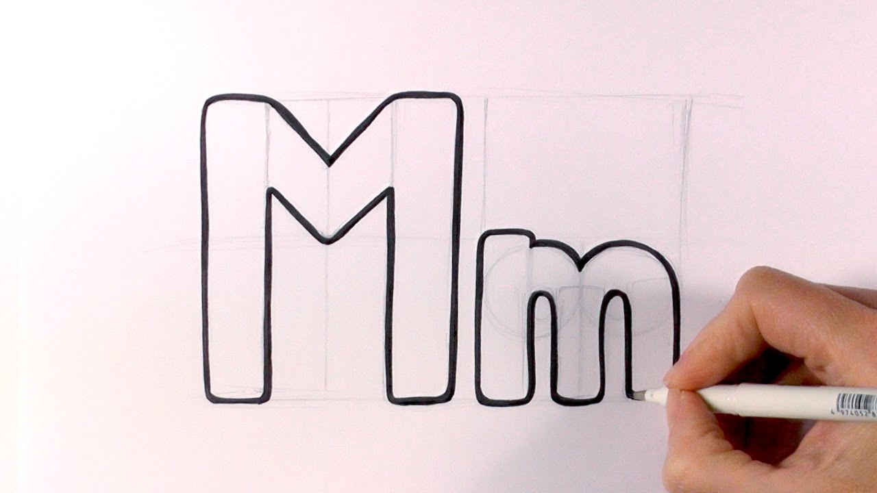 1280x720 How To Draw A Cartoon Letter M And M
