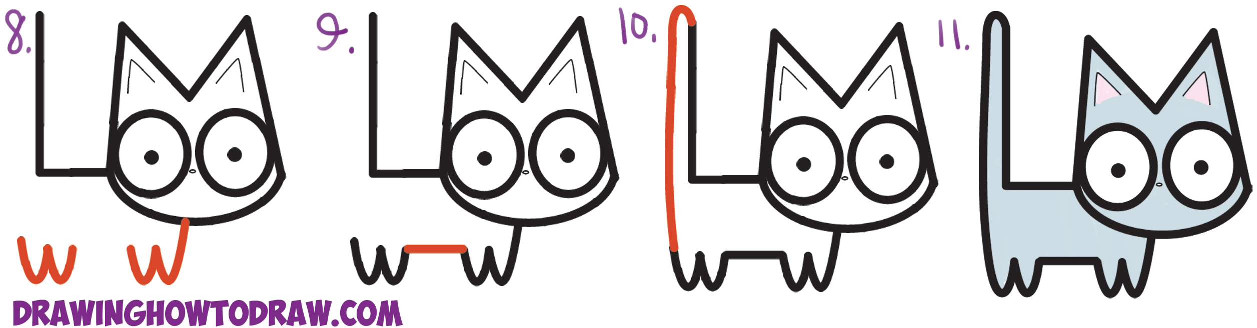 2513x657 How To Draw A Cute Cartoon Kitten From Letters L + M Easy Step By