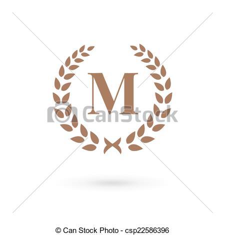 450x470 Letter M Laurel Wreath Logo Icon Eps Vectors