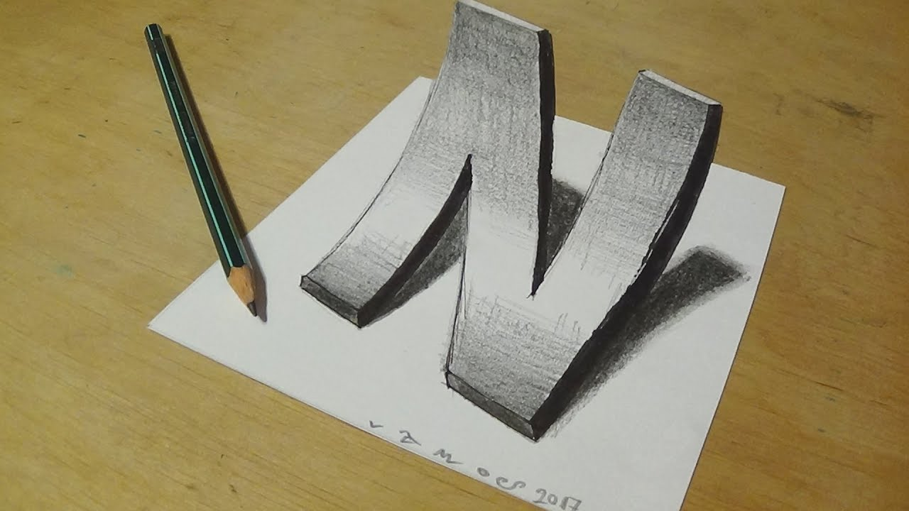 1280x720 How To Draw 3d Curved Letter N
