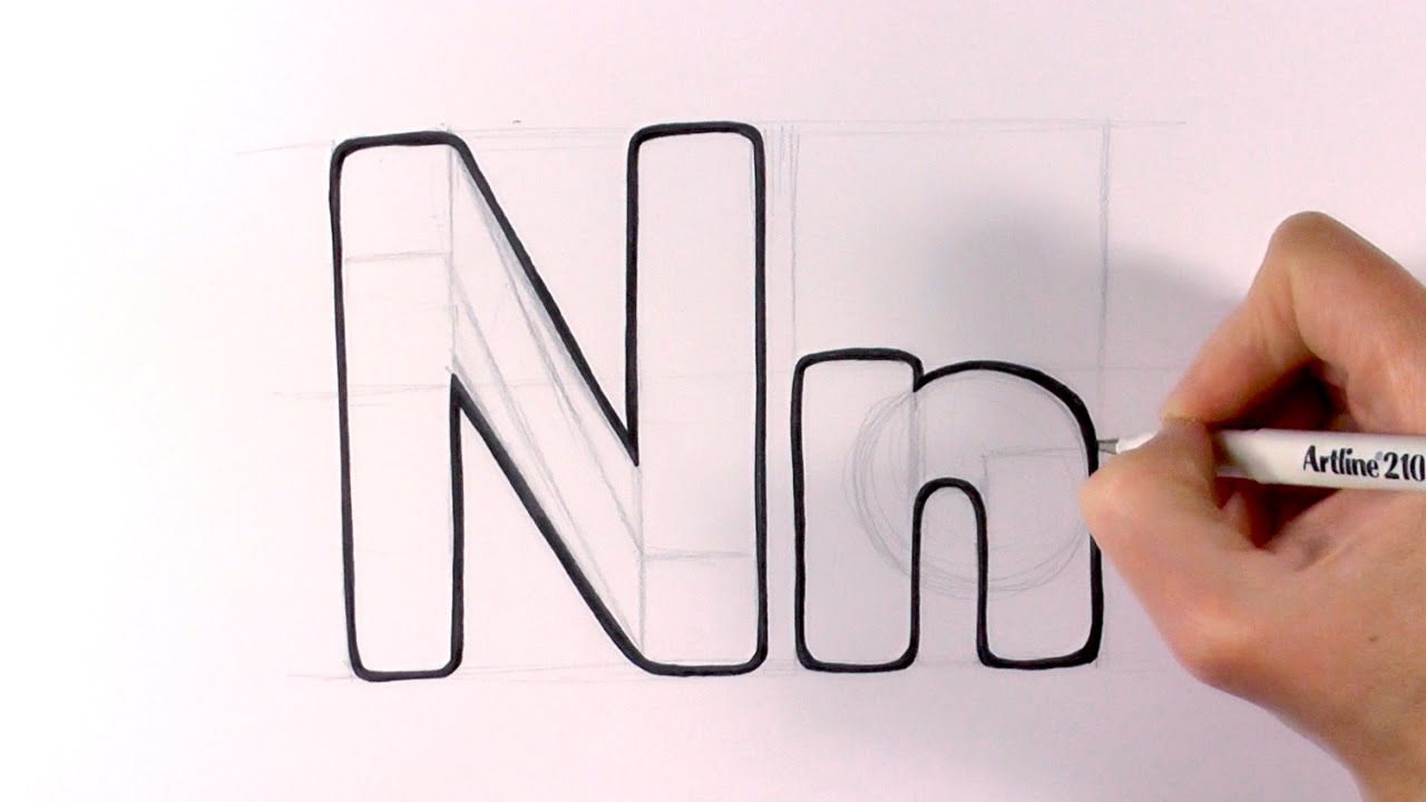 1280x720 How To Draw A Cartoon Letter N And N