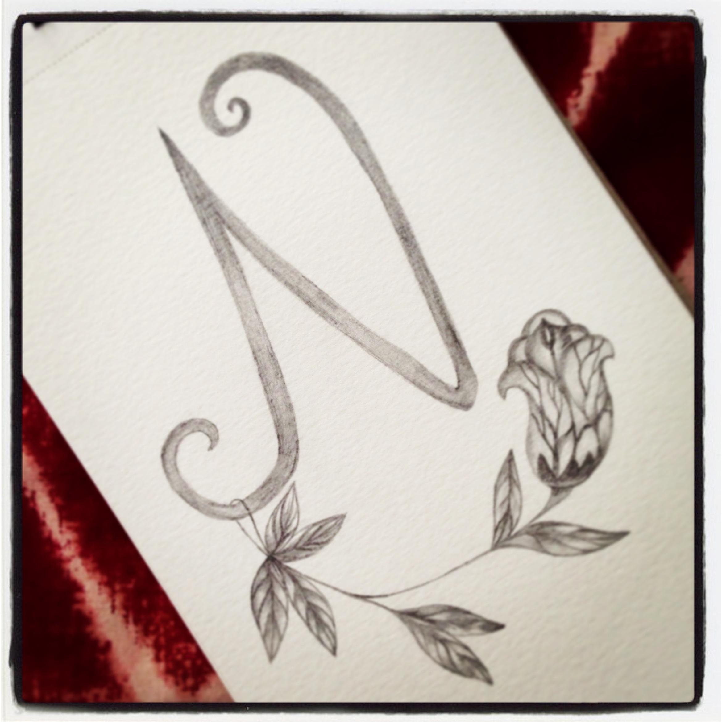 2340x2340 Letter N, The Initial Of My Name. One Of My Drawing In Pencil
