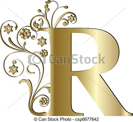 450x410 Capital Letter R Gold Clip Art